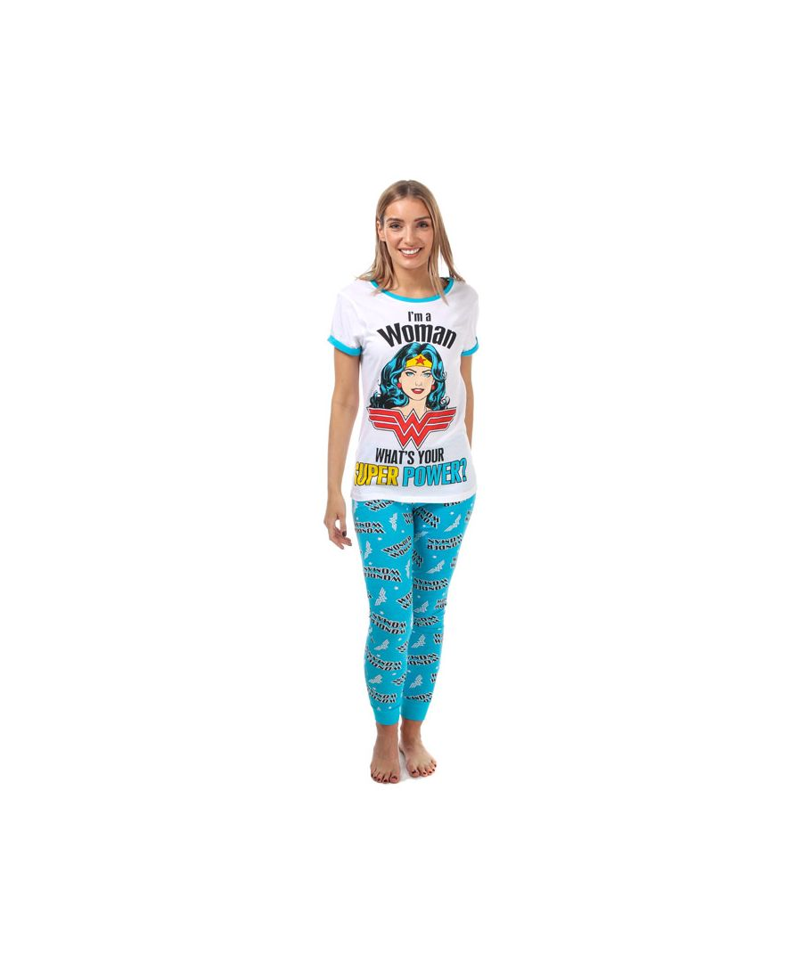Image for Women's DC Comics Wonder Woman Pyjamas in White blue