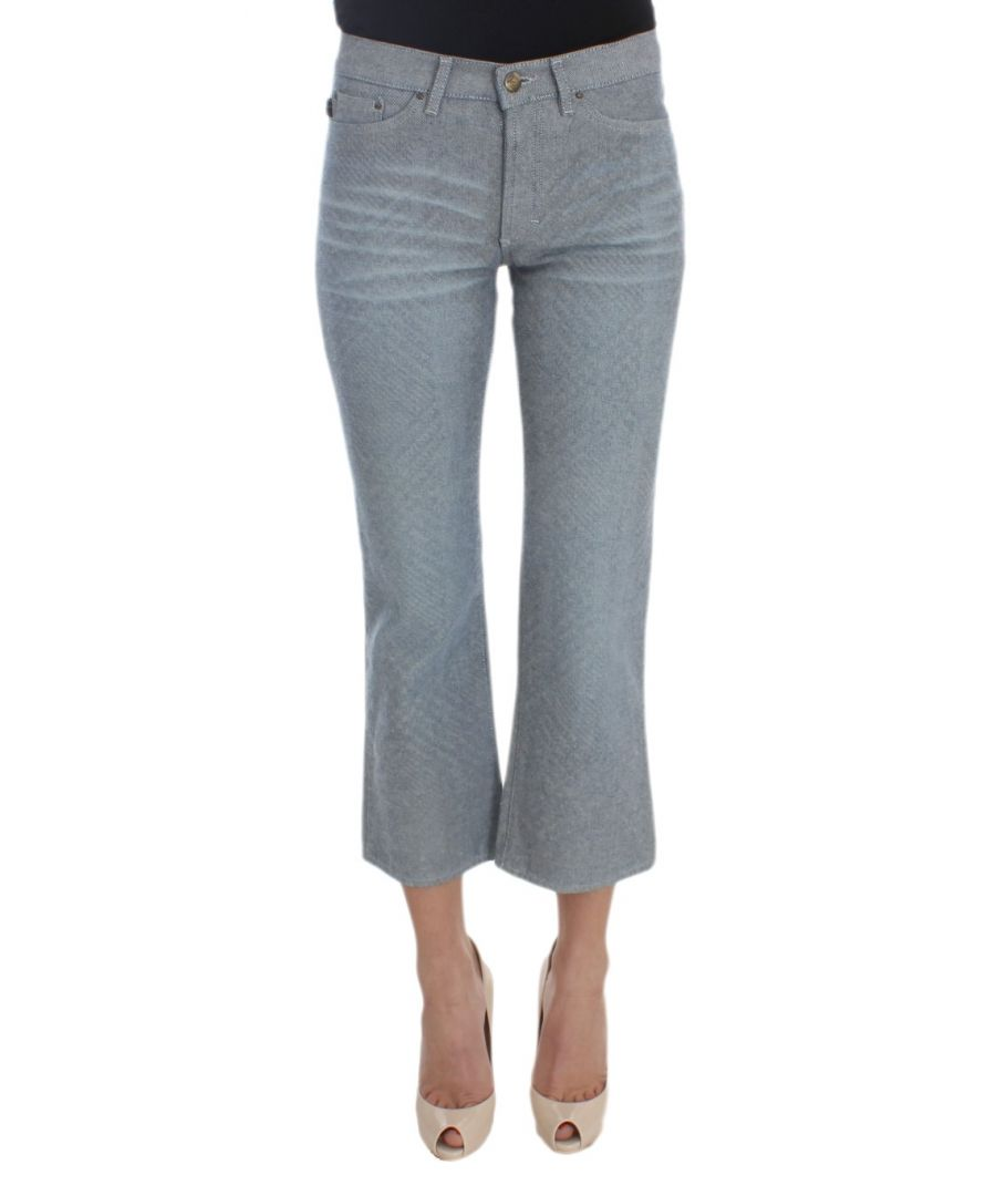 Image for Cavalli Blue Cotton Slim Fit Denim Capri Cropped Jeans
