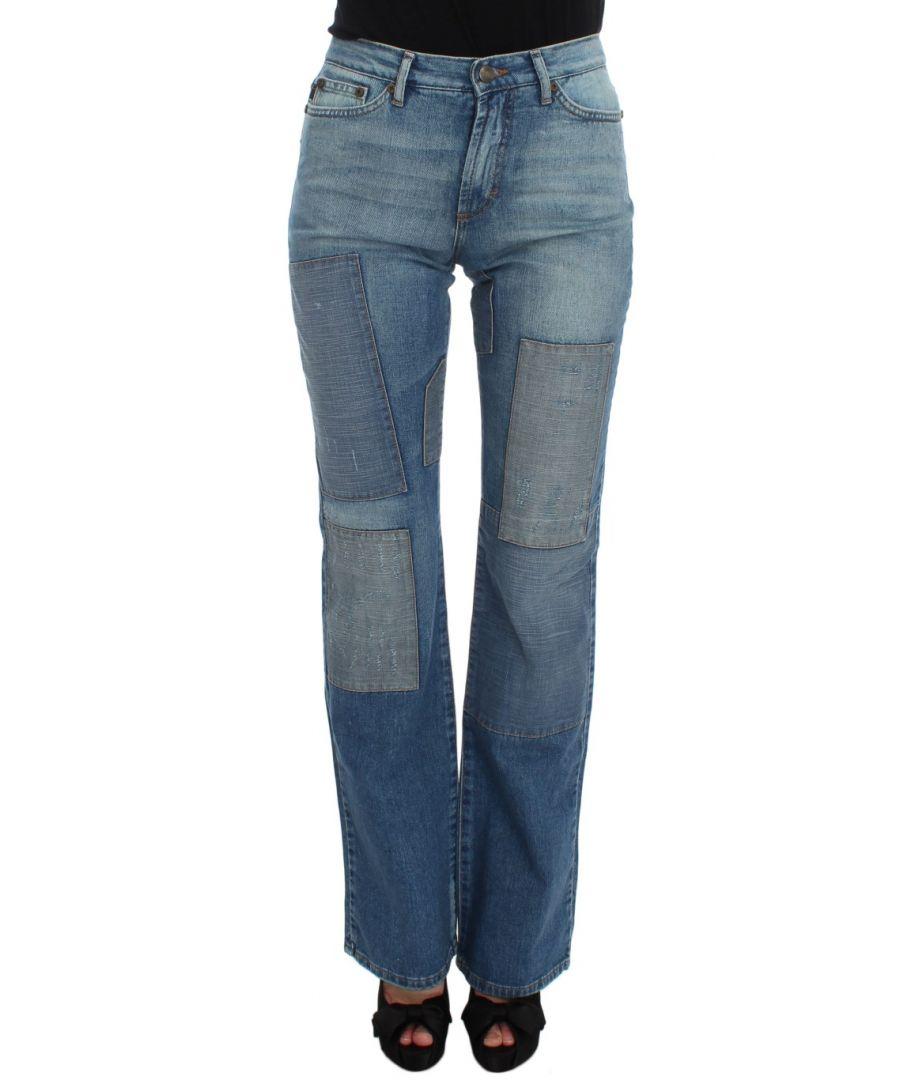 Image for Cavalli Blue Wash Cotton Slim Fit Bootcut Jeans