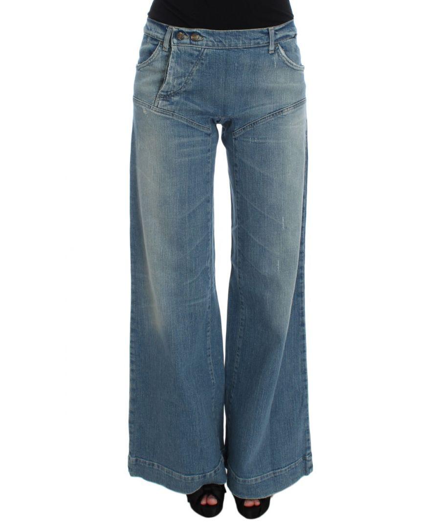 Image for Cavalli Blue Wash Cotton Blend Wide Legs Jeans