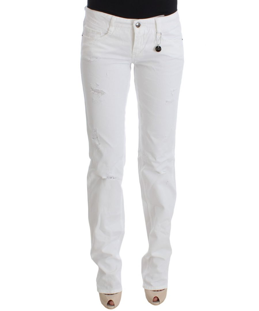 Image for Costume National White Cotton Slim Fit Denim Bootcut Jeans