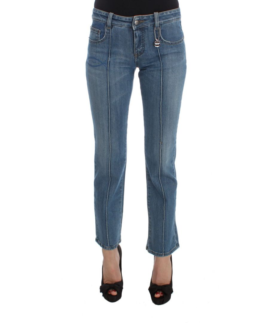Image for Costume National Blue Cotton Slim Fit Cropped Jeans