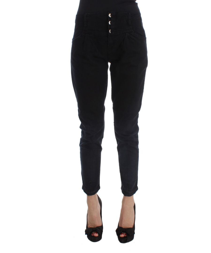 Image for Costume National Black Cotton Slim Fit Cropped Jeans