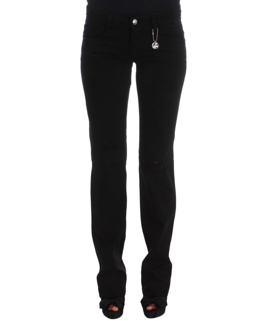 Image for Costume National Black Cotton Slim Fit Bootcut Jeans