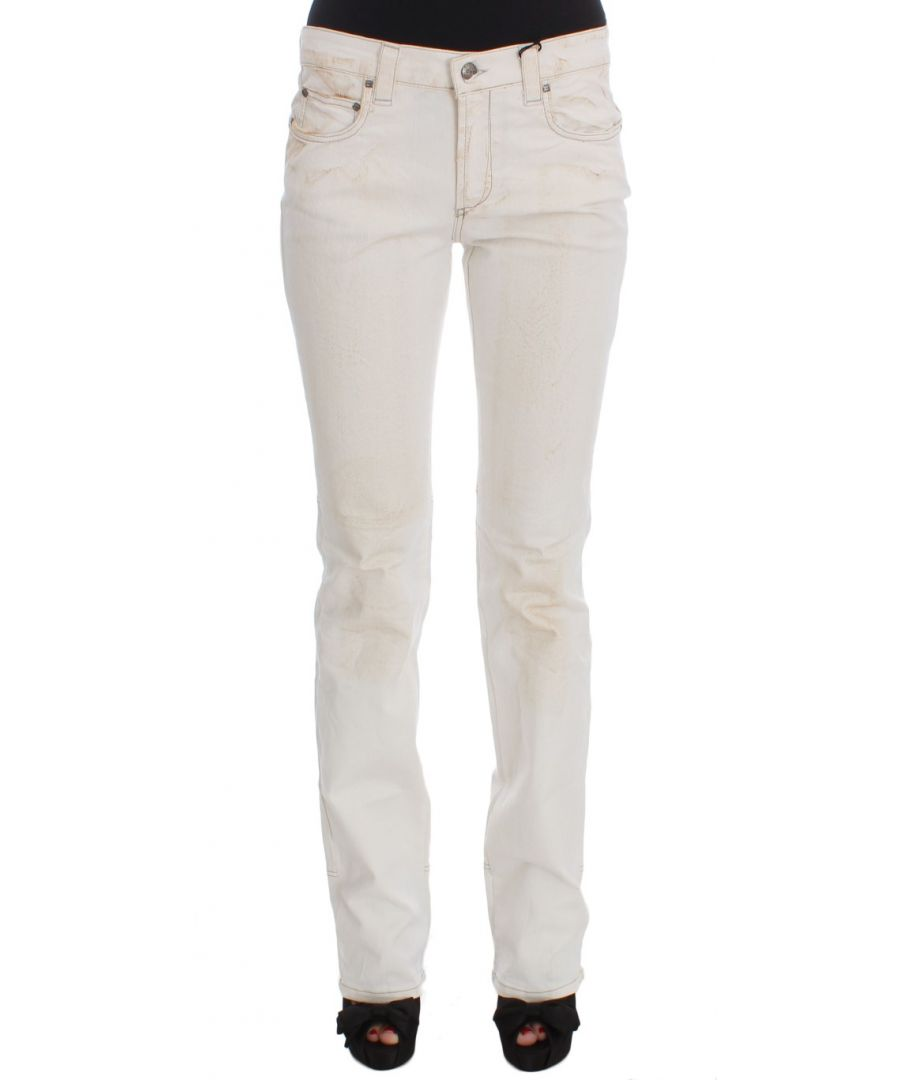 Image for Costume National White Cotton Slim Fit Bootcut Jeans