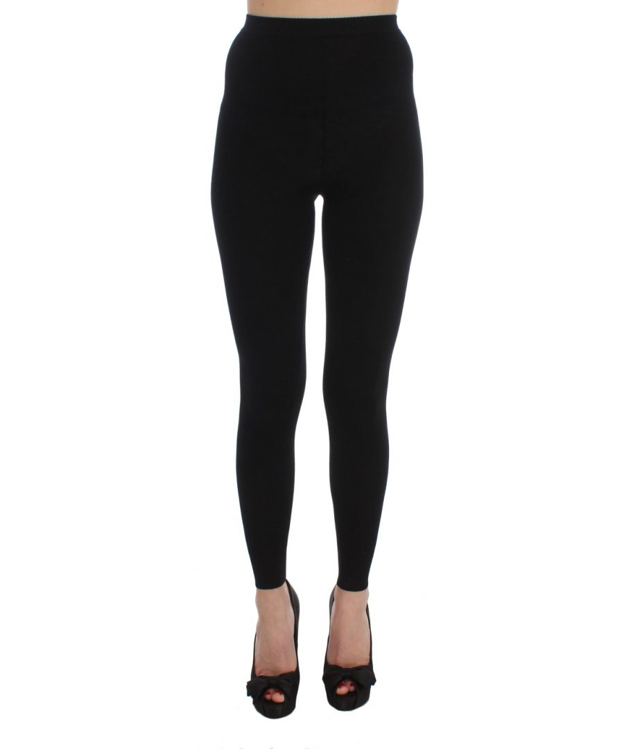 Image for Dolce & Gabbana Black Wool Stretch Tights Pants