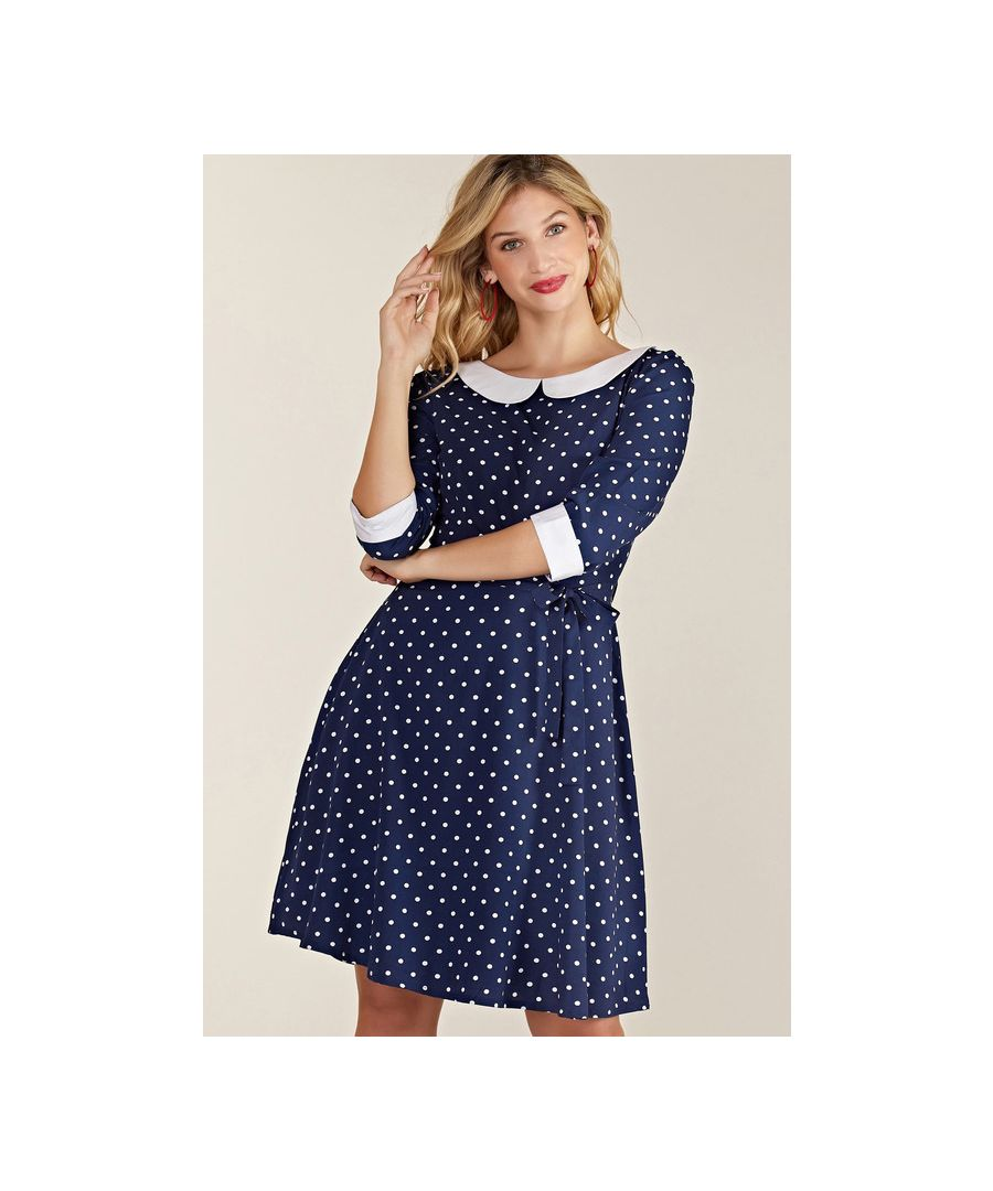 Image for Navy Spot Print Peter Pan Collar Skater Dress
