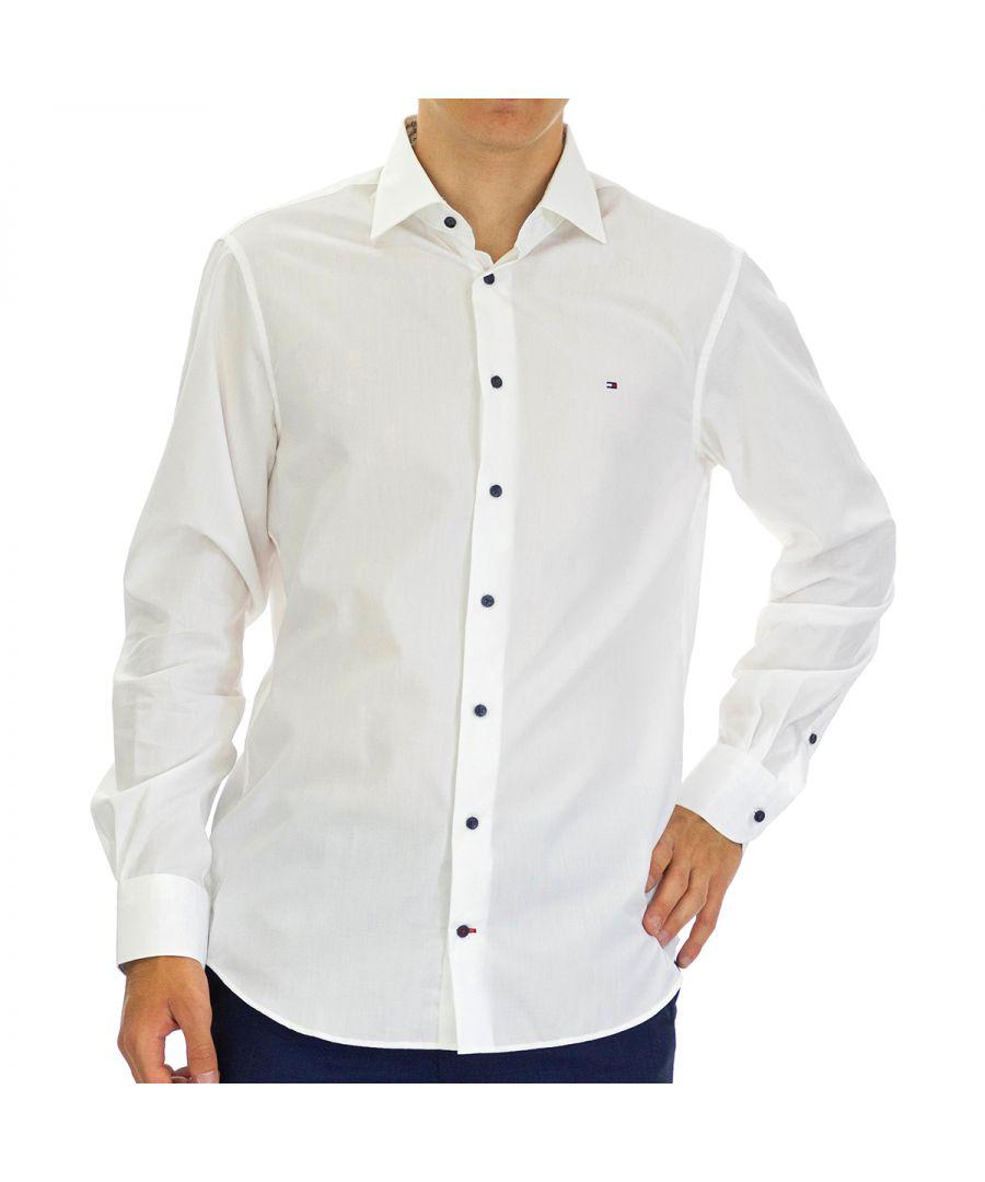 Image for Tommy Hilfiger Men's Shirt Poplin Regular Fit Full Sleeve White