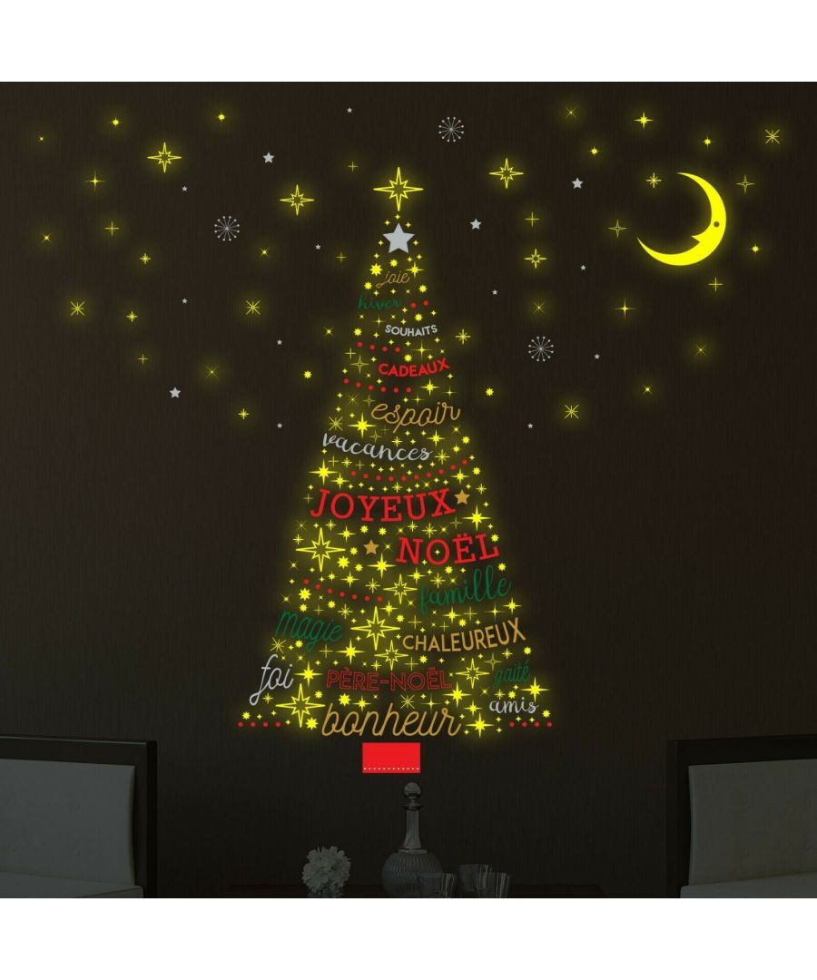 Image for French Christmas Glow Tree Christmas Wall Stickers, Kitchen, Bathroom, Living room, Self-adhesive, Decal