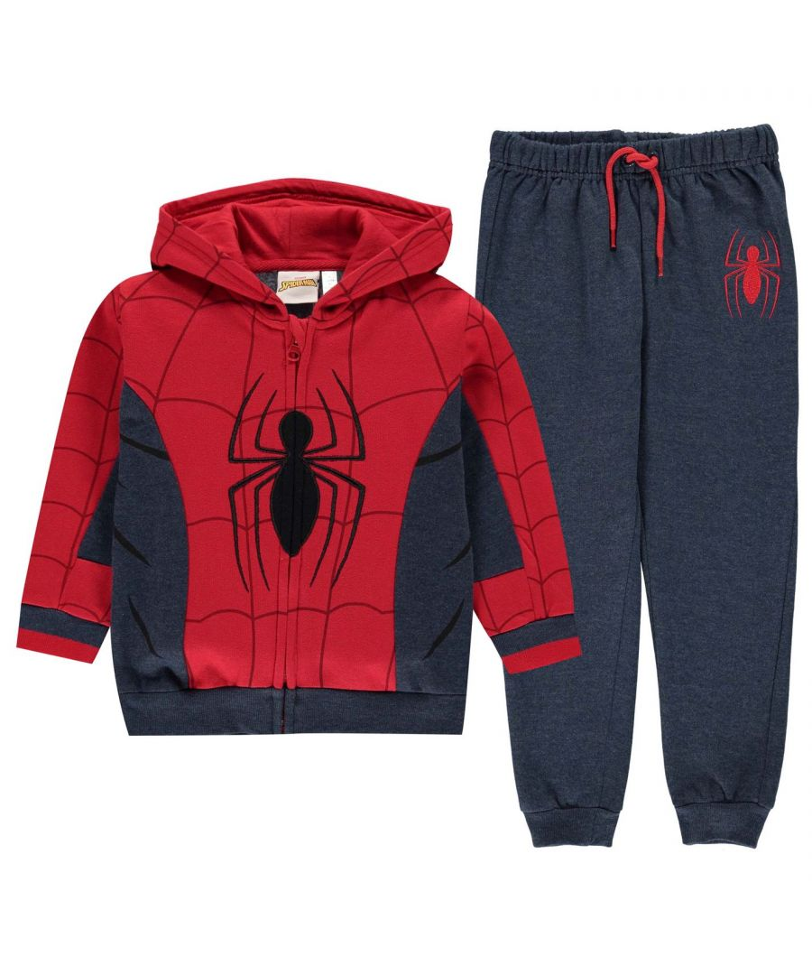 Image for Character Boys Jogging Set Infant Fleece Tracksuit Spiderman Hooded Top Bottom