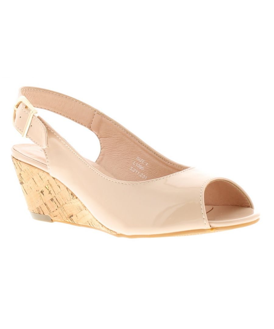 Image for New Womens/Ladies Nude Patent Wide Fit Wedged Peep Toe Wedge Sandals