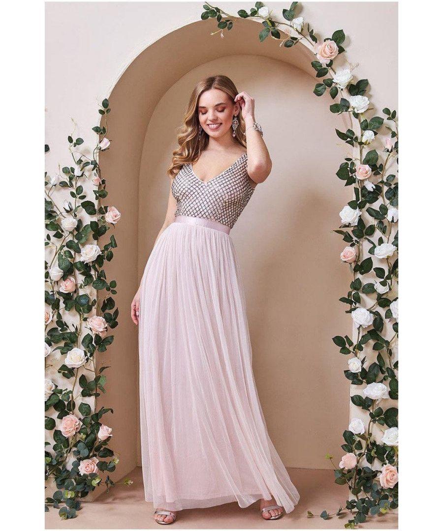 Image for Goddiva Sequin Bodice Pleated Maxi Dress - Blush