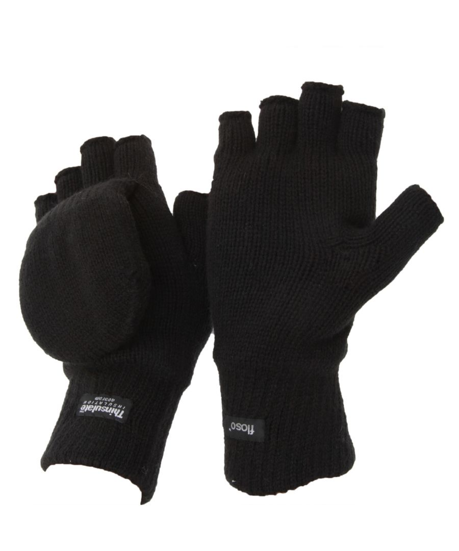 Image for FLOSO Unisex Mens/Womens Thinsulate Thermal Capped Winter Fingerless Gloves (3M 40g) (Black)