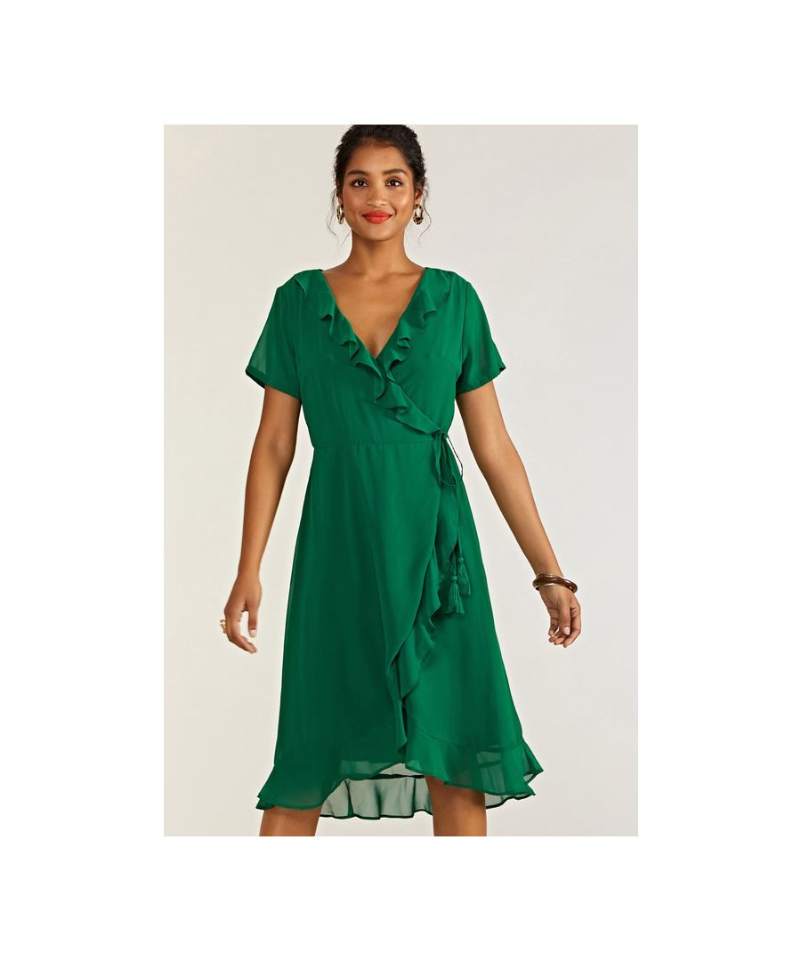 Image for Green Frill Wrap Dress With Tassel Detail