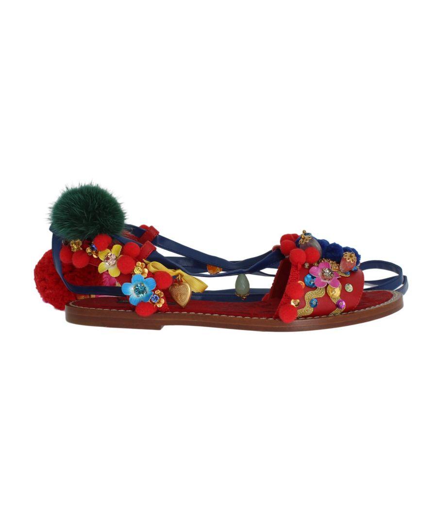 Image for Dolce & Gabbana Pom Pom Leather Crystal Sandals