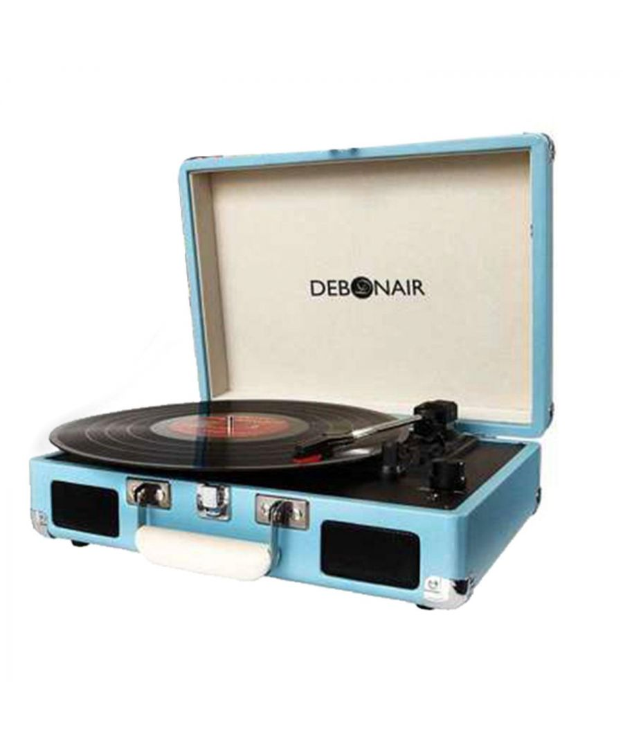 Image for Debonair Retro Turntable Record Player Turquoise Blue