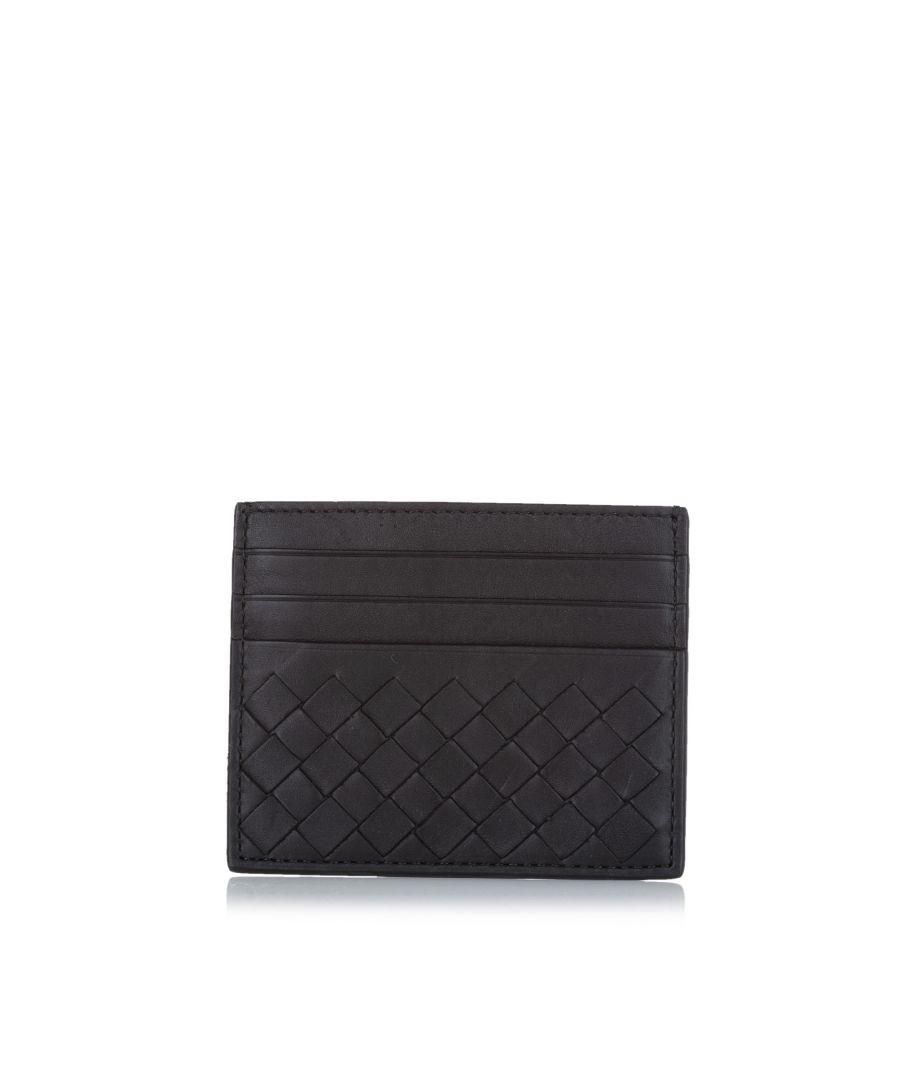Image for Vintage Bottega Veneta Intrecciato Leather Card Case Black