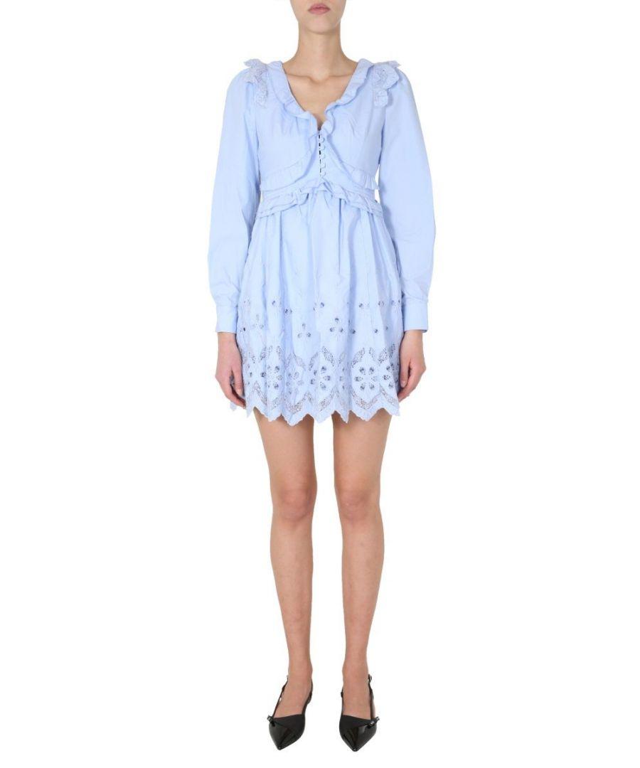 Image for SELF-PORTRAIT WOMEN'S SS20054LIGHTBLUE LIGHT BLUE COTTON DRESS