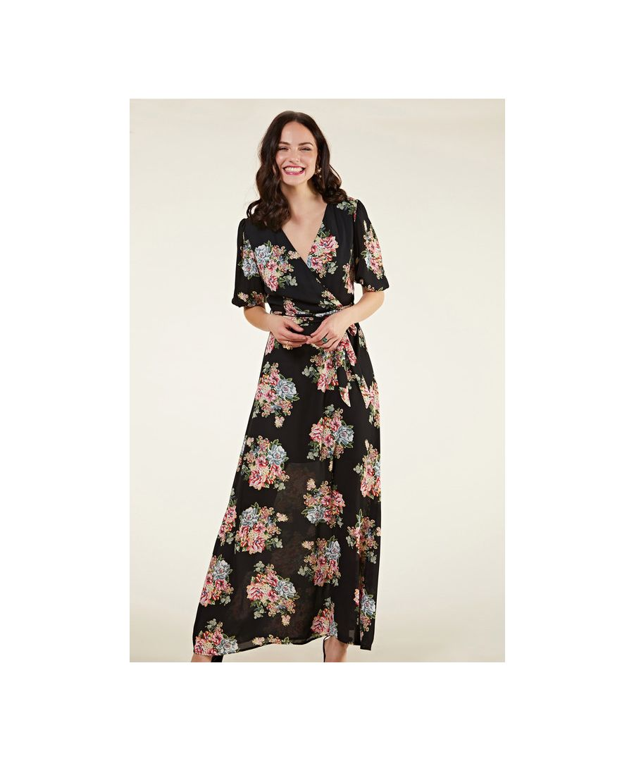 Image for Black Rose Maxi Dress With Sleeve Detail