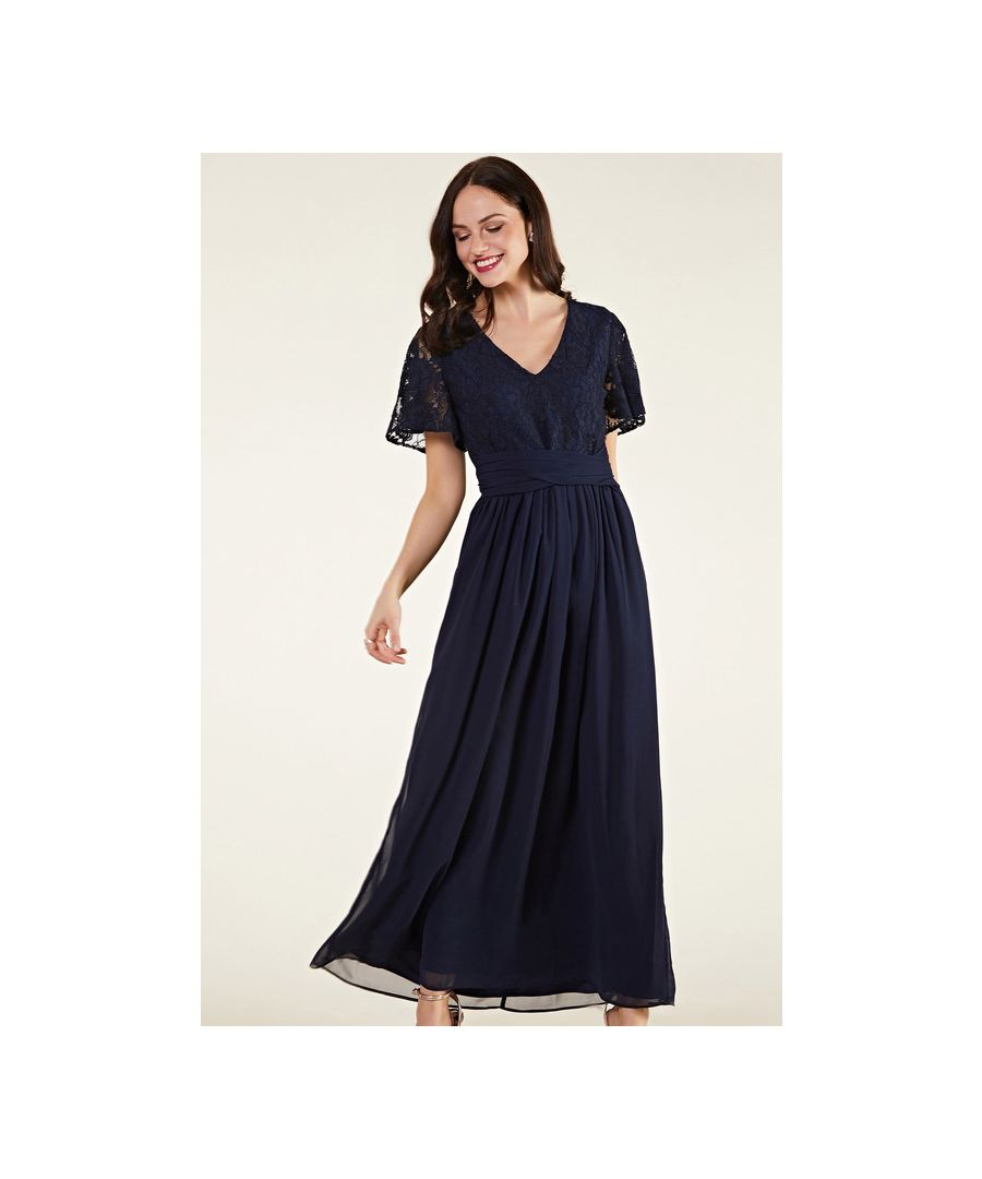 Image for Navy Wrap Tie Maxi Dress With Lace Bodice