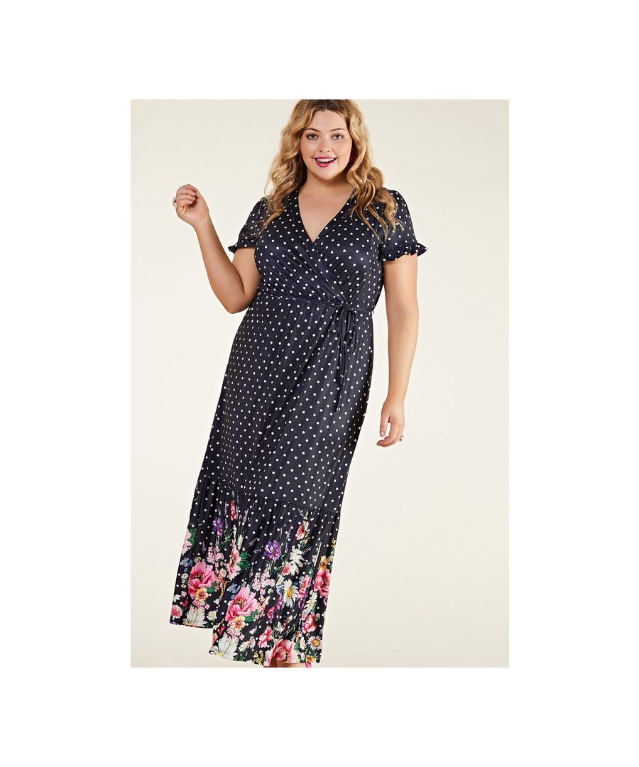 Image for Navy Plus Size Floral Spot Maxi Dress