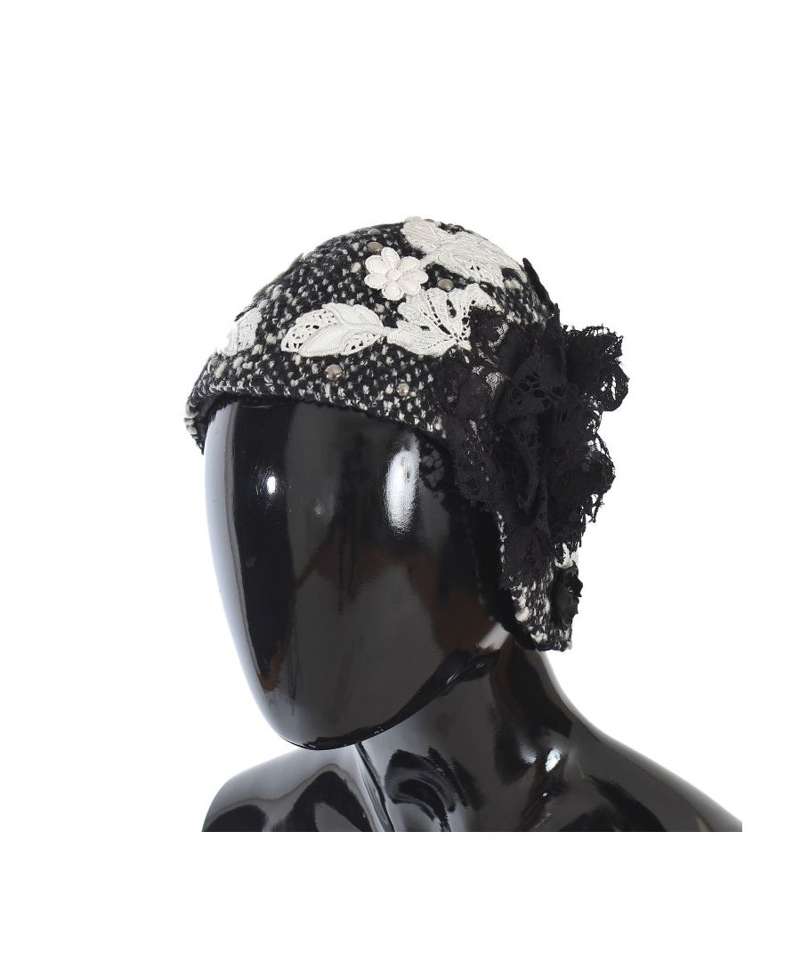 Image for Dolce & Gabbana Gray Wool Floral Lace Studded Cloche Hat