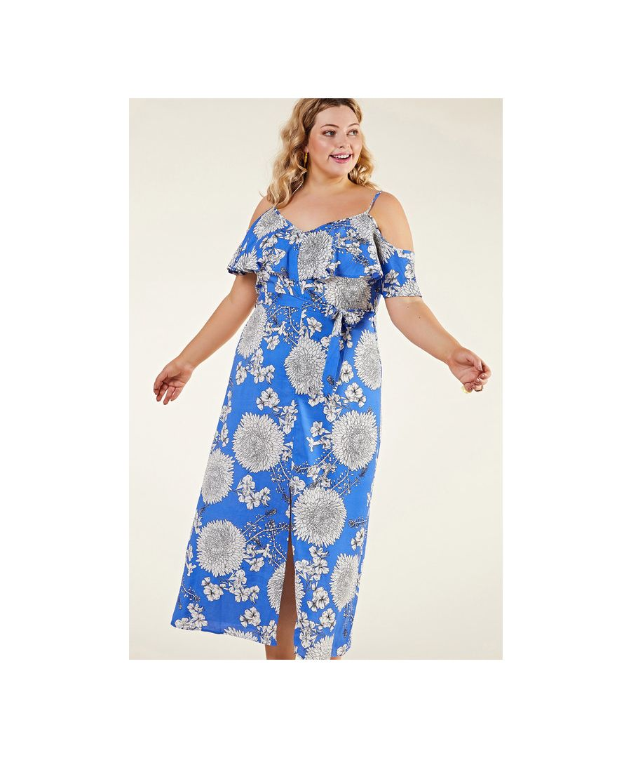 Image for Blue Plus Size Floral Frill Maxi Dress