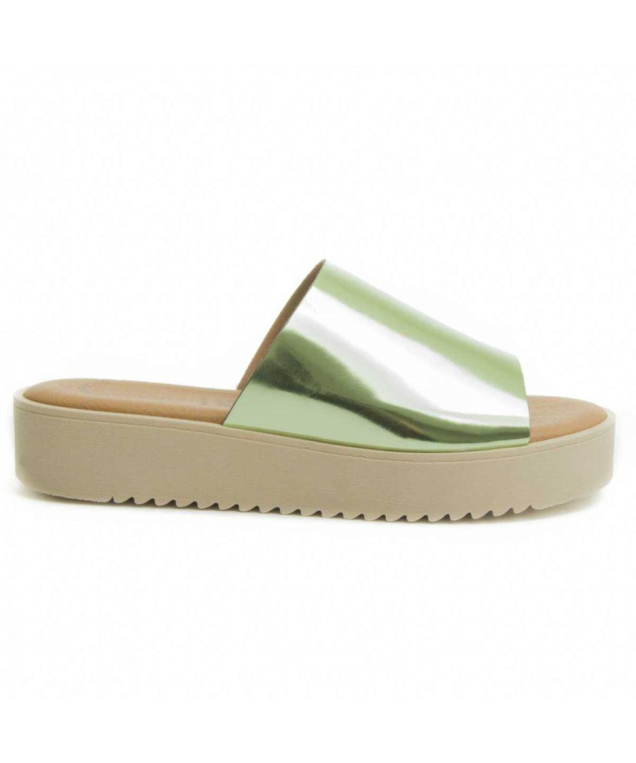 Image for Purapiel Flatform Slide Sandal in Green