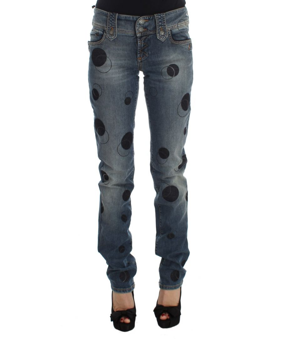 Image for Galliano Blue Wash Cotton Blend Slim Fit Bootcut Jeans