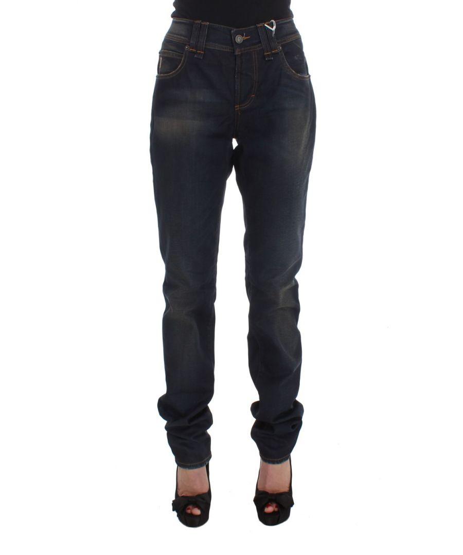 Image for Galliano Blue Wash Cotton Blend Boyfriend Fit Jeans