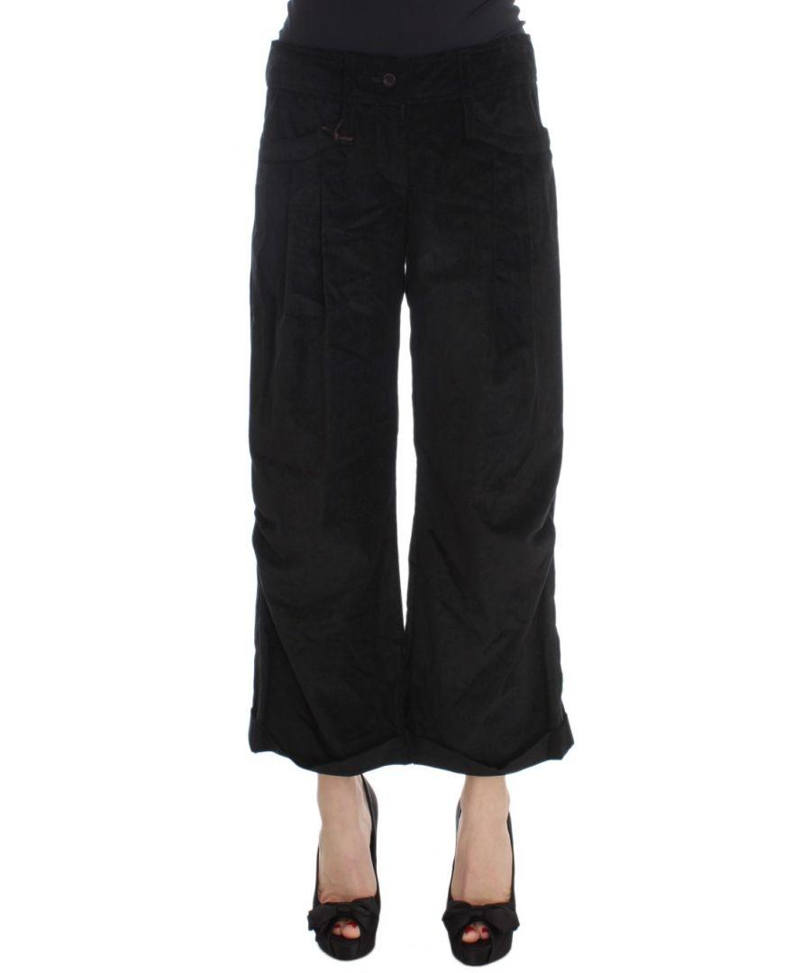 Image for Ermanno Scervino Black Velvet Cotton Capri Bootcut Pants