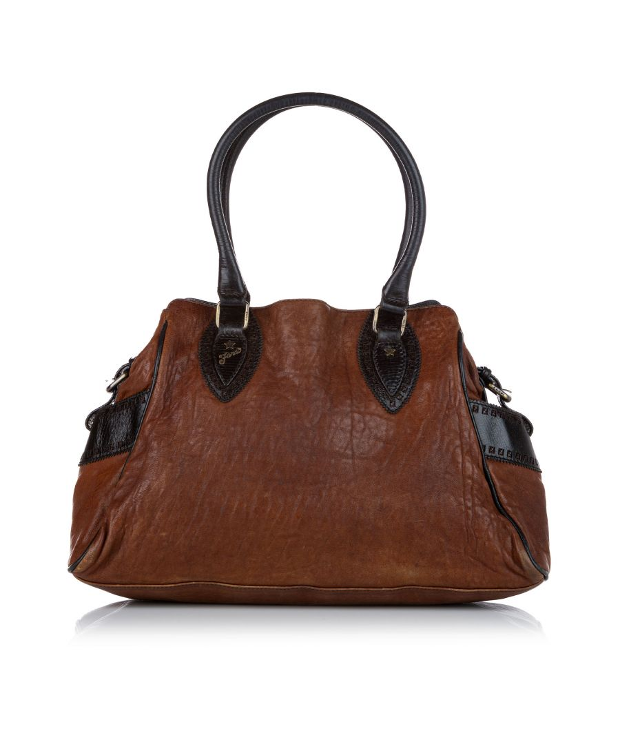 Image for Vintage Fendi Etniko Leather Handbag Brown