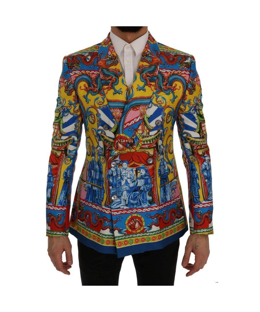 Image for Dolce & Gabbana Multicolor Dragon Print Silk Slim Fit Blazer Jacket