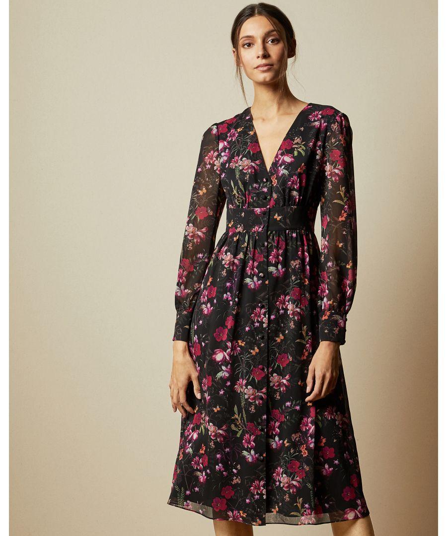 Image for Ted Baker Adriela Fern Forest Deep V Midi Dress, Black