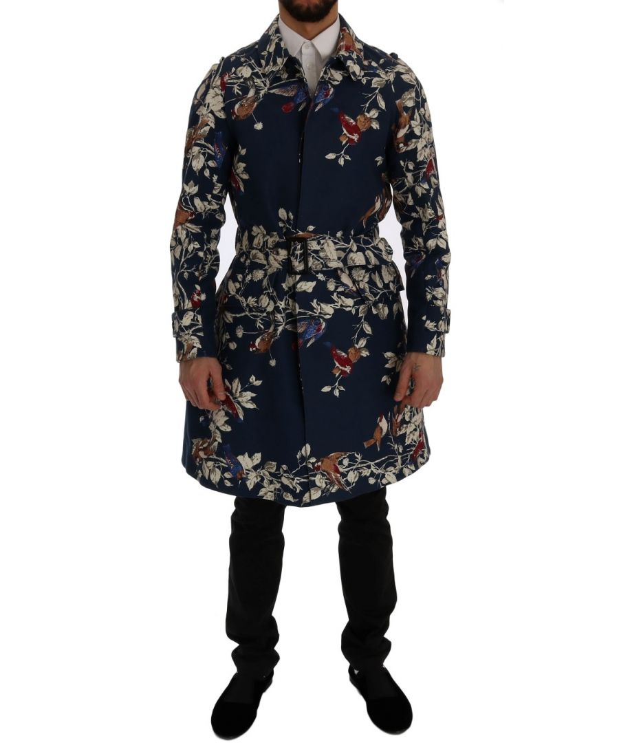 Image for Dolce & Gabbana Blue Bird Cotton Trench Coat