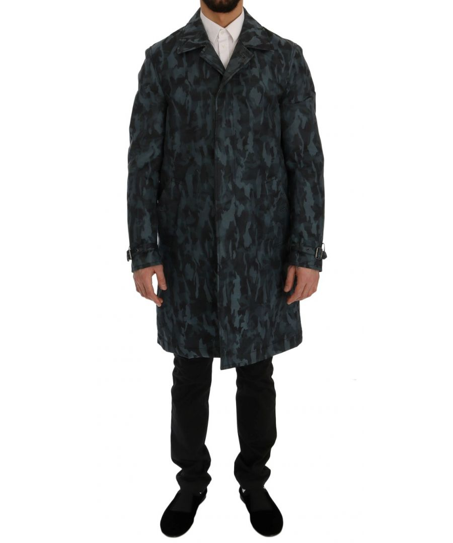 Image for Dolce & Gabbana Blue Camouflage Trench Trench