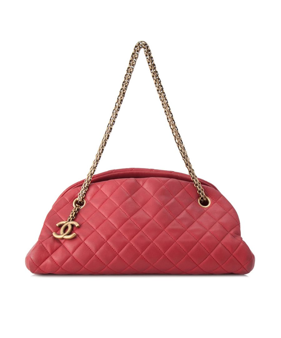 Image for Vintage Chanel Mademoiselle Leather Bowling Bag Red