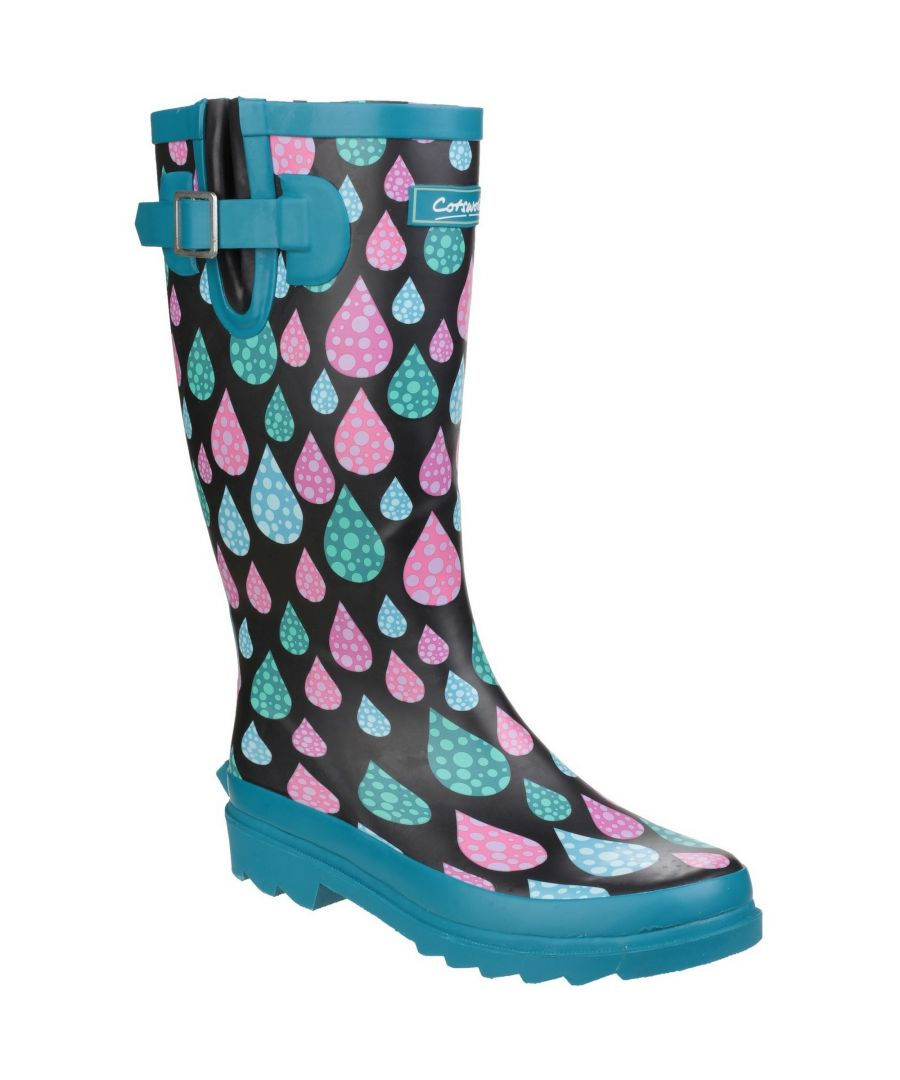 Image for Cotswold Womens/Ladies Burghley Pull On Patterned Wellington Boots (Raindrop)