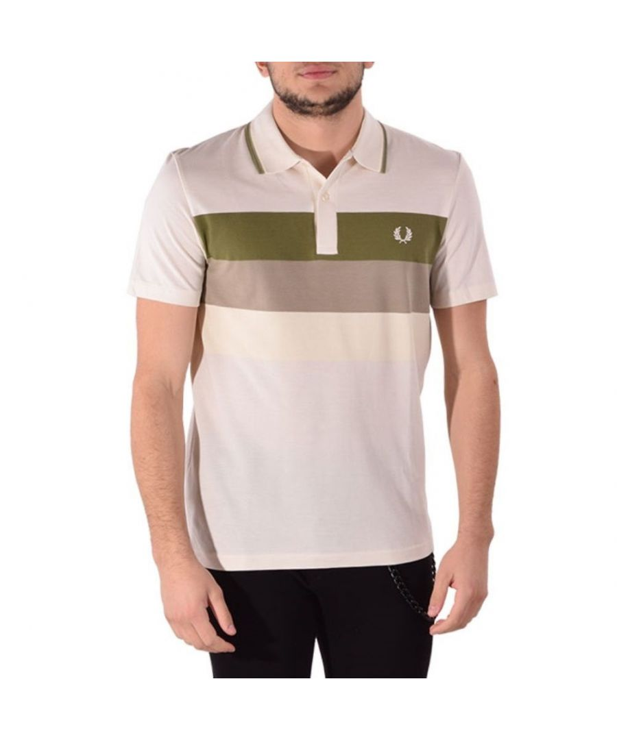 Image for FRED PERRY MEN'S M880533560 WHITE COTTON POLO SHIRT