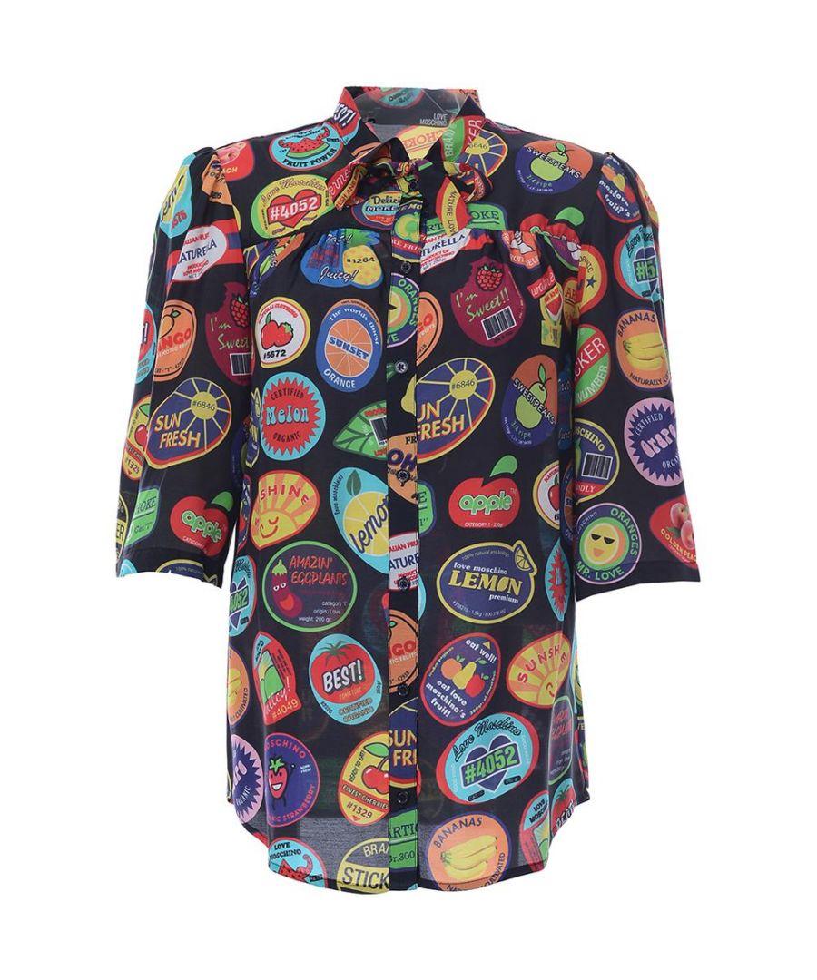 Image for Love Moschino CAMICIA C/FUSCIACCA ALLOVER BOLLI-STICKERS/BLACK in Multicoloured