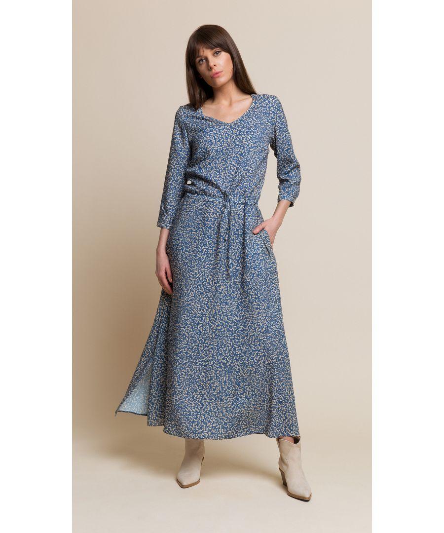 Image for Nancy Floral Blue Dress