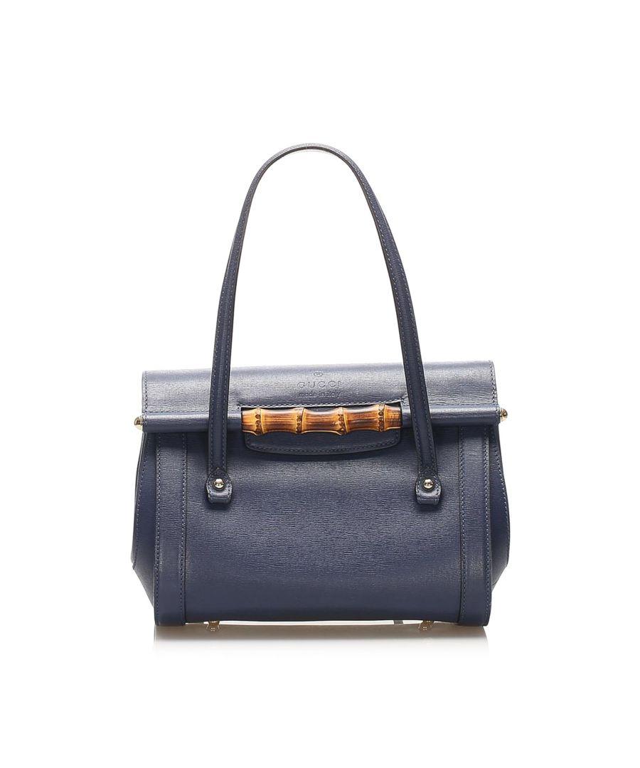 Image for Vintage Gucci Bamboo Bar Leather Handbag Blue