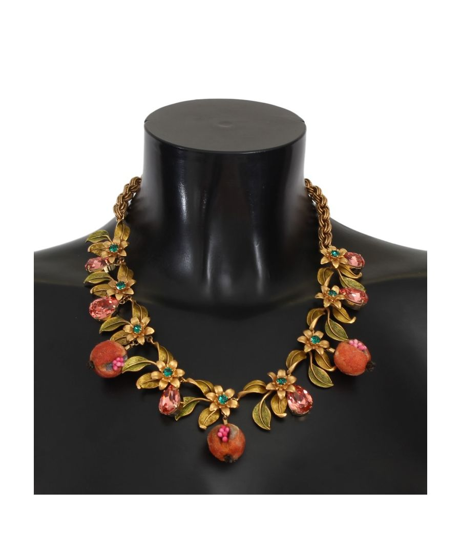 Image for Dolce & Gabbana Gold Figs Fruit Floral Crystal Charms Necklace