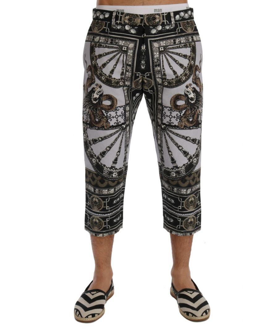 Image for Dolce & Gabbana Multicolor Dragon Print Capri Pants