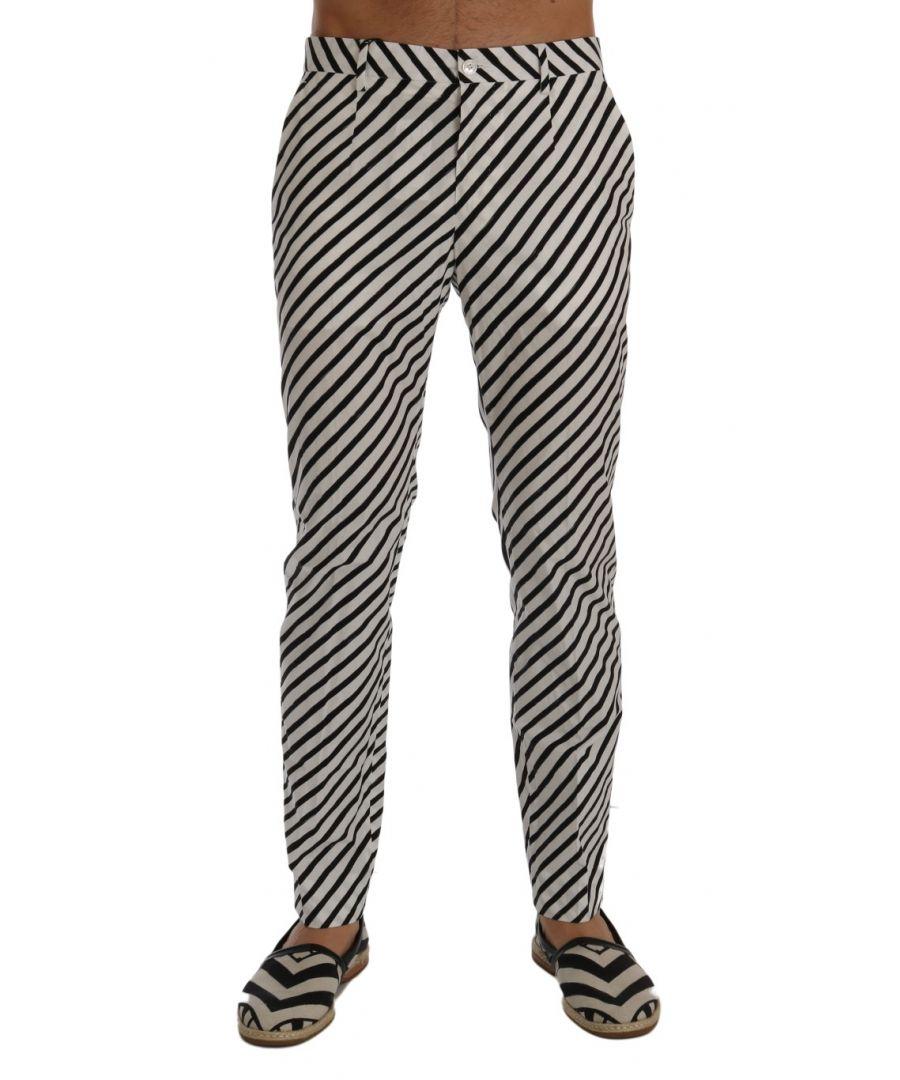 Image for Dolce & Gabbana White Black Striped Cotton Slim Fit Pants