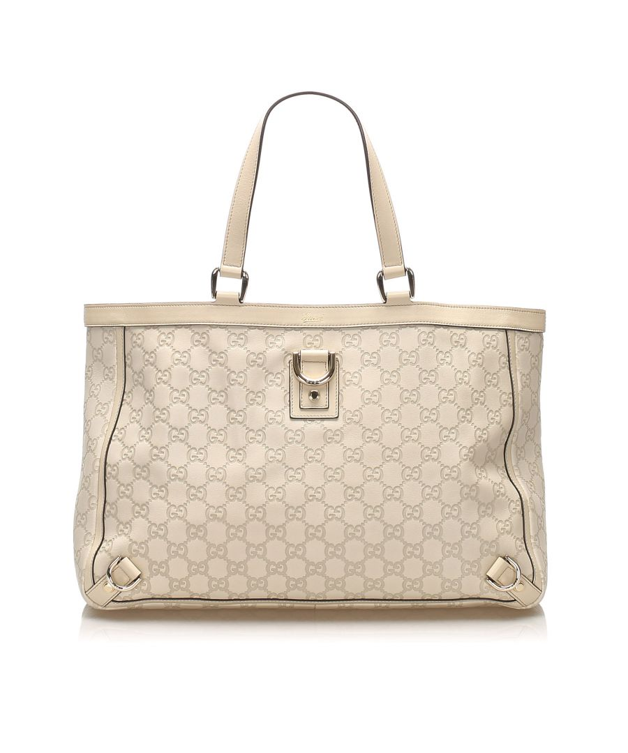 Image for Vintage Gucci Guccissima Abbey D-Ring Tote Bag White