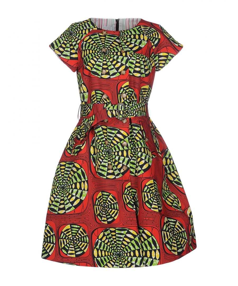 Image for Stella Jean Red Pattern Cotton Short Sleeve Dress