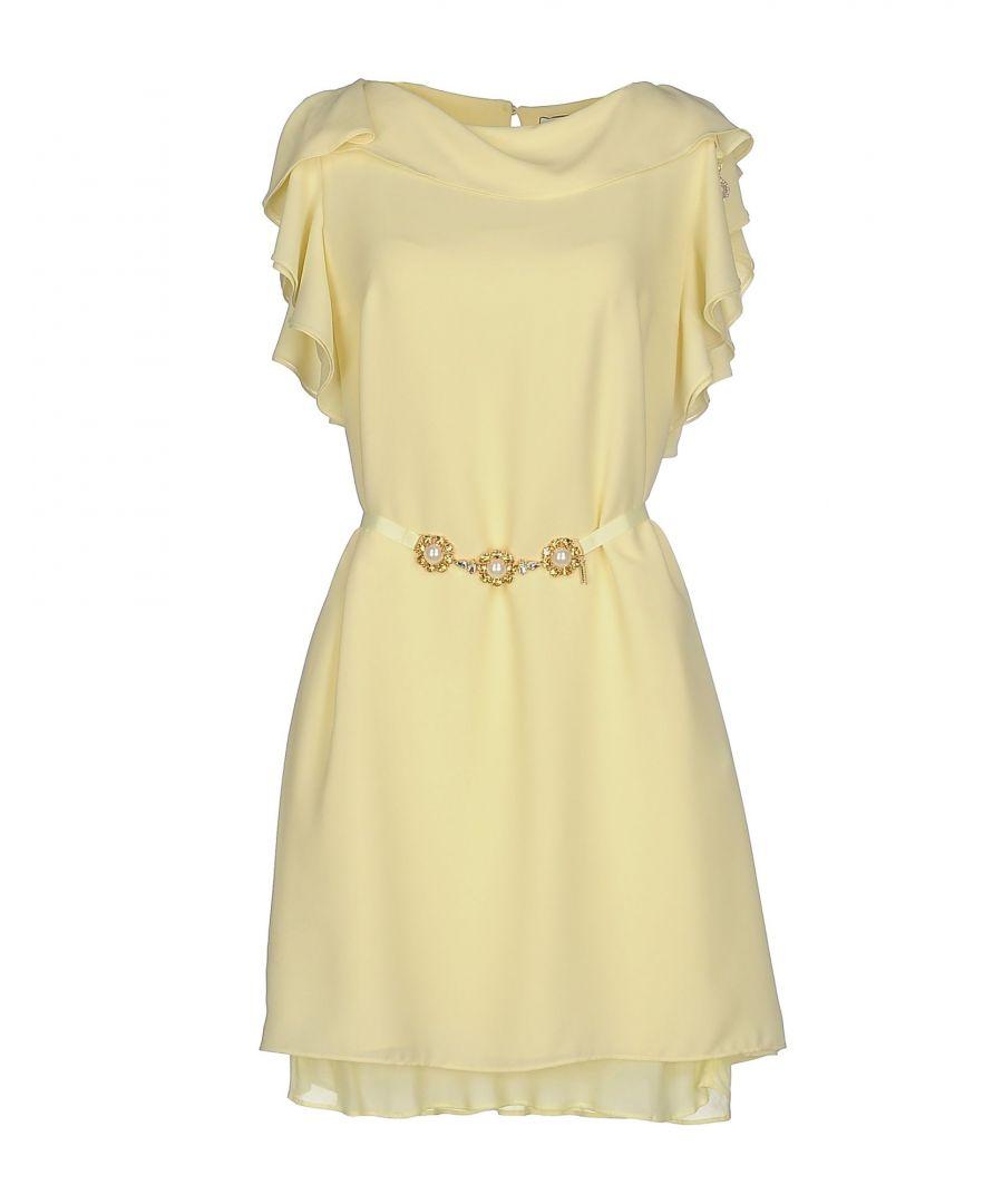 Image for Nenette Light Yellow Crepe Belted Dress