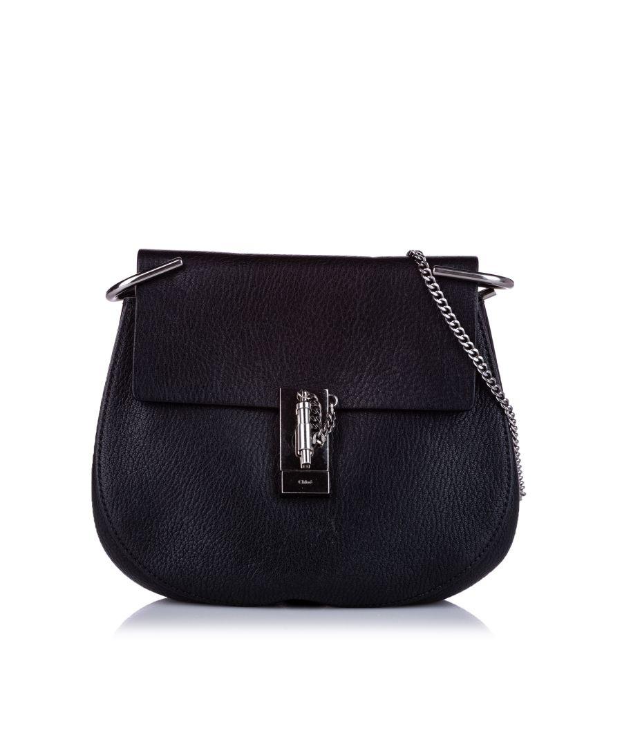 Image for Vintage Chloe Drew Leather Crossbody Bag Black