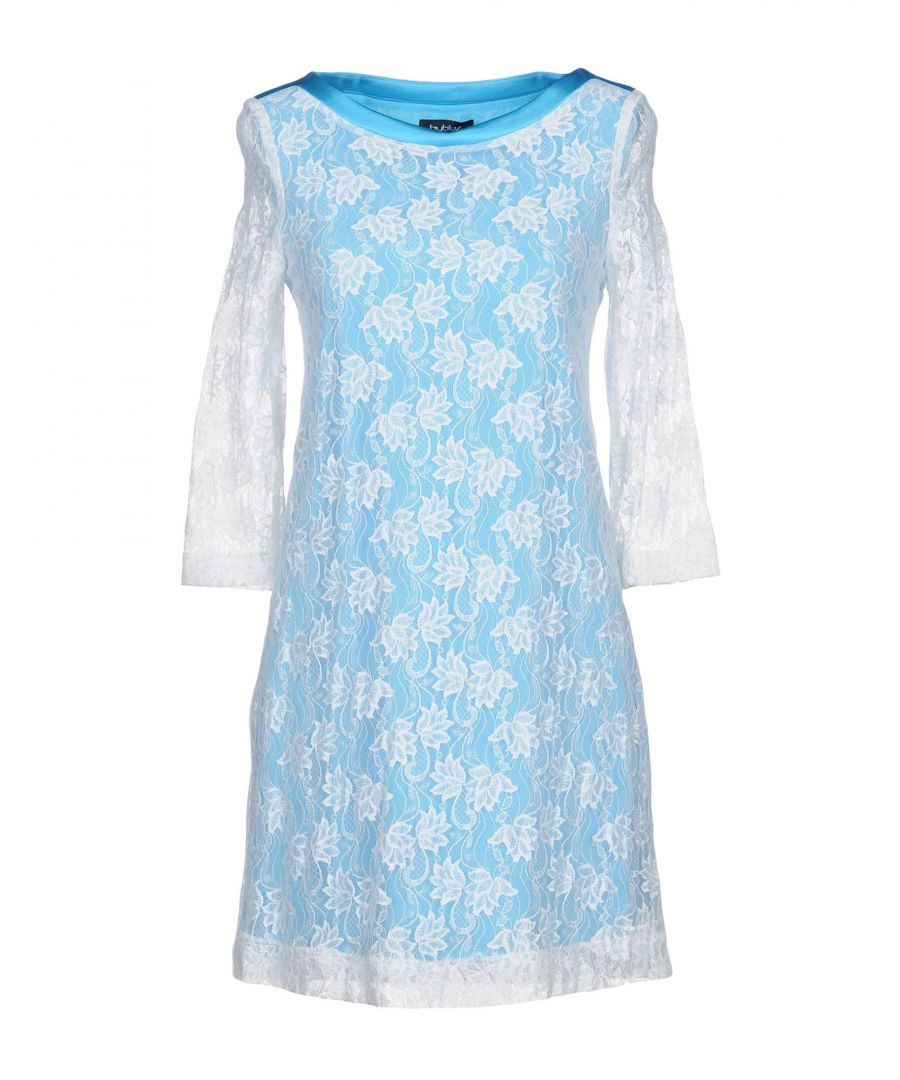 Image for Byblos Sky Blue Lace Long Sleeve Dress
